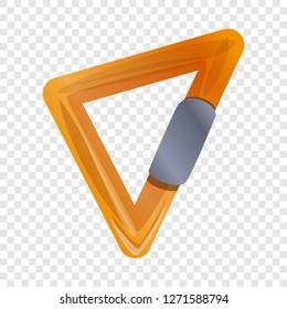 Triangular carabine icon. Cartoon of triangular carabine icon for web design