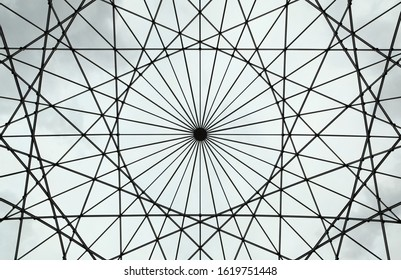 The triangular lattice structure of this skylight forms a symmetrical pattern that can be used for backgrounds.