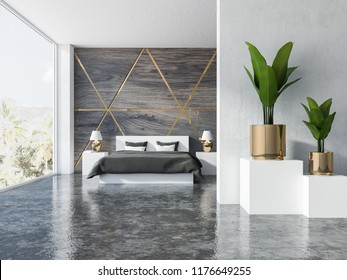 Triangular pattern wooden and gold bedroom interior with a gray floor, panoramic windows, a double bed with two bedside tables with cute lamps on them. Gold pots with plants. 3d rendering copy space