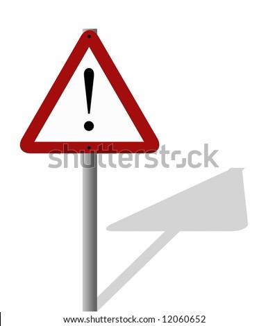 Triangular Road Sign Exclamation Mark Warning Stock Illustration
