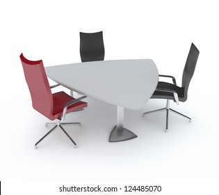 Triangular table and chairs. An empty meeting room and conference table