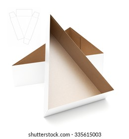 Triangular Tray Box with Die Cut Template