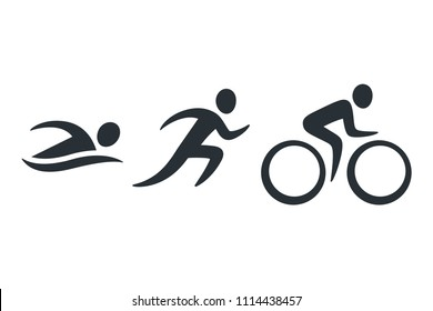 Triathlon activity icons - swimming, running, bike. Simple sports pictogram set. Isolated logo illustration.
