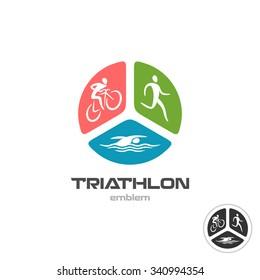 Triathlon sport logo. Cyclist, running and swimming man silhouettes.