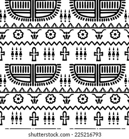 Tribal art Egyptian vintage ethnic silhouettes seamless pattern in black and white. Egypt borders. Folk abstract repeating background texture. Cloth design. Wallpaper