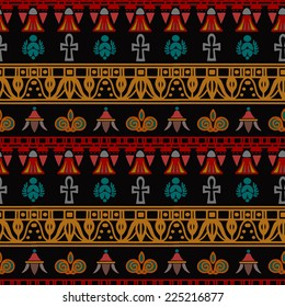 Tribal art Egyptian vintage ethnic silhouettes seamless pattern. Egypt borders. Folk abstract repeating background texture. Cloth design. Wallpaper