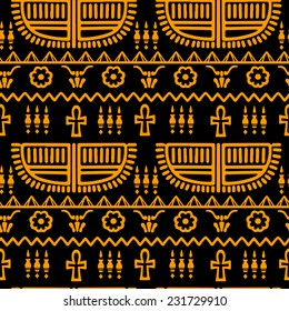 Tribal art Egyptian vintage ethnic silhouettes seamless pattern in black and gold. Egypt borders. Folk abstract repeating background texture. Cloth design. Wallpaper