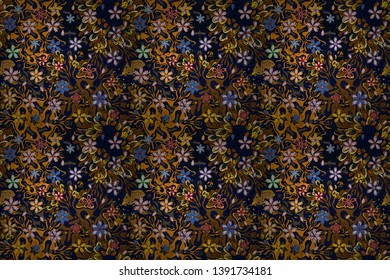 Tribal art print, vintage background. Abstract ethnic raster seamless pattern. Background texture, wallpaper, theme in black, brown and blue colors.