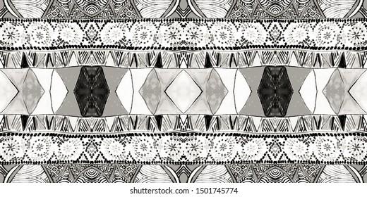 Tribal Aztec Background. Colorless Stencil Batik. Silver Grey Summer African Print. Paisley Batik. Anthracite Bohemian Style. Smoky Gray Geometric Painting. Southwest Native  Motif.