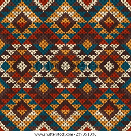 Tribal Aztec Pattern On Wool Knitted Stock Illustration 239351338