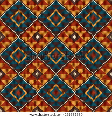 Tribal Aztec Pattern On Wool Knitted Stock Illustration 239351350