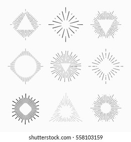 Tribal boho style frame with place for your text with arrows. Starburst hipster logo, line art