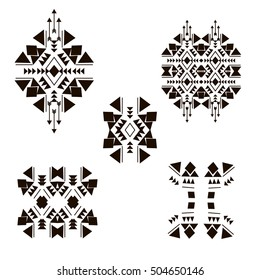 Tribal design elements isolated on the white background. Vintage ethnic elements for your business. Authentic oriental ornament, Arabic, Moroccan, Mexican, Aztec and African collection of native art.