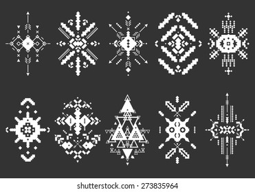 Tribal elements, ethnic collection, aztec stile, tribal art, tribal design  isolated on black background