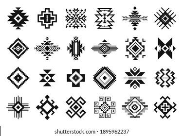 Tribal elements. Monochrome geometric american indian patterns, navajo and aztec, ethnic ornament for textile decorative ornament  set. Black cultural national symbols, art decoration