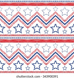 Tribal ethnic patriotic red, blue seamless pattern on white background. illustration for American symbol design. USA flag. Texture wallpaper. Star, stripe and zig zag shapes. Hand drawn style.