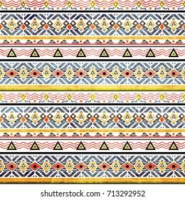 Tribal grunge ethno folk pattern in retro style