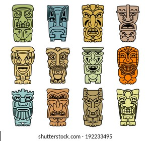 Tribal masks of idols and demons for religious or ethnic design. Vector version also available in gallery