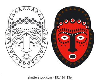 Tribal maya, african masks - outlune and color mask illustation. Maya mask, tribal culture, native ethnic mask