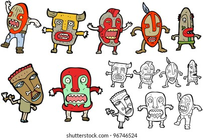 tribal men cartoon collection (raster version)