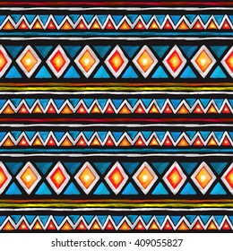 Tribal pattern. Seamless pattern with tribal ornament in geometric style with triangles and stripes. Watercolor