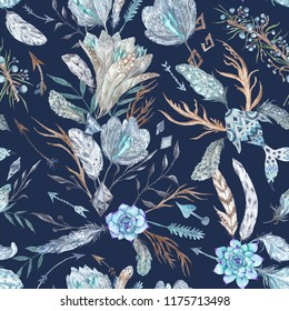 Tribal Romantic Boho Chic indigo Watercolor Pattern Seamless texture with feathers, flowers and crystals isolated on dark blue background for textile and wallpaper design