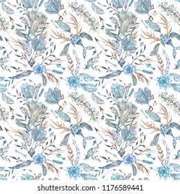 Tribal Romantic Boho Chic indigo Watercolor Pattern Seamless texture with feathers, flowers and crystals isolated on white background for textile and wallpaper design