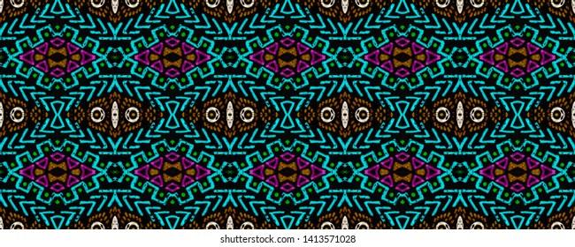 Tribal seamless. Aztec pattern. Geometric print. Vintage patchwork. Boho mayan ornament. Vintage fabric. Indigo, black, pink, cyan, neon tribal seamless.