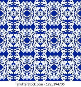 Tribal Seamless Blue Geometric Pattern. Striped Hand Painted Blue Seamless Pattern With Ethnic And Tribal Motifs. Watercolor Ethnic Background. Flowers Texture. Ethnic White Background. Blue Pattern.
