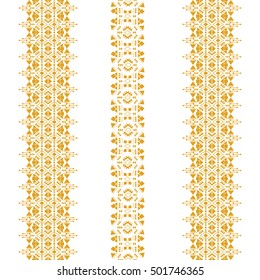 Tribal seamless pattern isolated on the white background. Vintage ethnic elements for clothing design or home decor. Oriental ornament, Arabic, Moroccan, Mexican, Aztec and African collection of art.