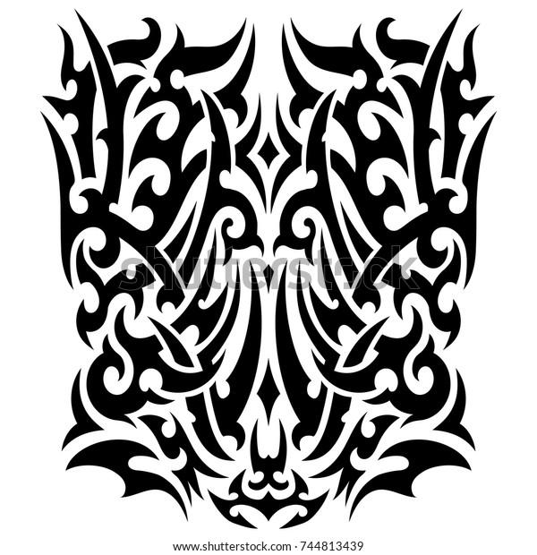 Tribal Tattoo On Back Chest Forearm Stock Illustration 744813439