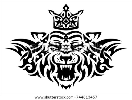 Tribal Tattoo Tiger Crown On Back Ilustracion De Stock744813457