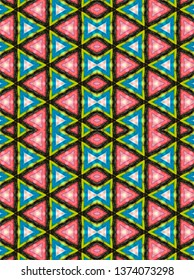 Tribal Triangles pattern, seamless repeat pattern, raster illustration, ethnic, abstract, geometric design, red, blue, black, 2000x2680 pixels, 300dpi.