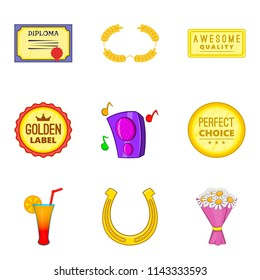 Tribute icons set. Cartoon set of 9 tribute icons for web isolated on white background