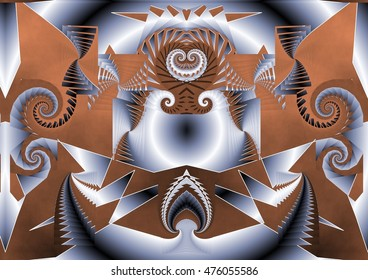 tribute to kandisnsky, symmetrical composition, kaleidoscopic, mirror effect, geometric composition of silver and brown colors,