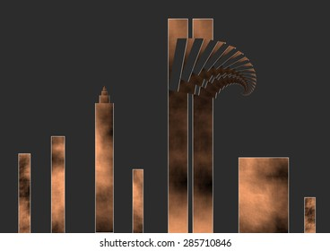 Tribute to the victims of the terrorist attack in New York on September 11, coppery color, dark background,illustration, spirals twist,  abstract expressionism, abstract surrealism, digital art,