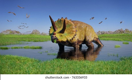 Triceratops horridus dinosaur and a flock of Pterosaurs from the Jurassic era eating water plants in beautiful landscape (3d render)
