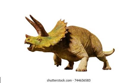 Triceratops horridus dinosaur from the Jurassic era (3d render isolated on white background)