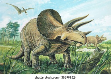 Triceratops A plant-eater. The largest of the horned dinosaurs.? About 20 ft (6 m) long.?Upper Cretaceous, about 70 million years ago.