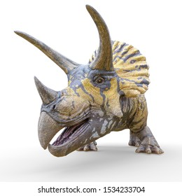 triceratops profile picture id on white background, 3d illustration