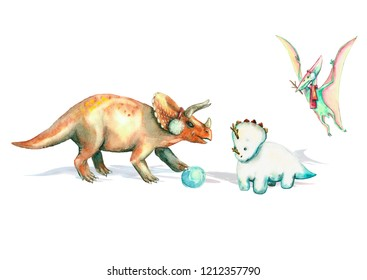 triceratops with snowball and pteranodon make snowman dino from snow watercolor card