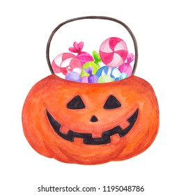 Trick or treat bag Watercolor Halloween item Pumpkin with candies