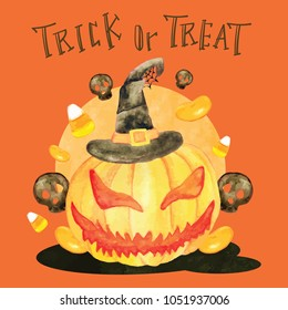 Trick or treat halloween pumpkin head and candies illustration for greeting cards, poster, art print.