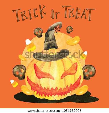 Trick or treat halloween pumpkin head and candies