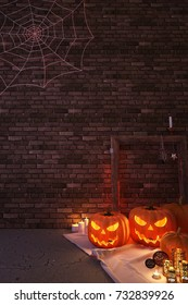 Trick or Treat! Halloween pumpkins lantern with candle light, old wood frame, carpet, luxury lantern and spider web in loft brown brick wall room - 3D Rendering