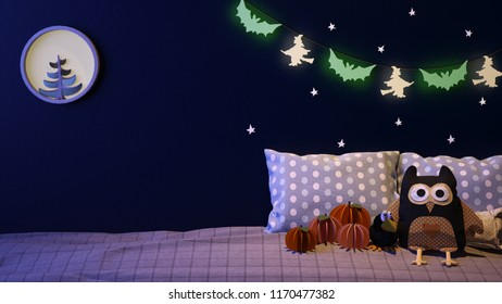 trick or treat! Haloween bedroom with owl, crow, and hanging glow decoration - 3D rendering