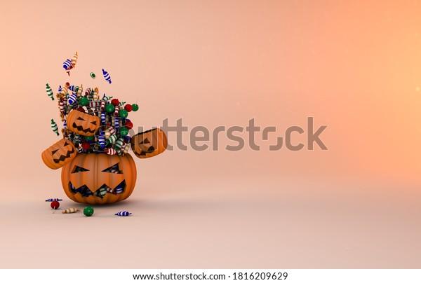 Trick o tratar el fondo de la calabaza de halloween. 3.D Render 31 de octubre