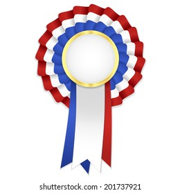 Tricolor rosette with blue, white and red ribbon and golden frame. Bitmap format
