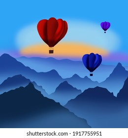 Tricolour hot air balloons illustration flying across the mountain
