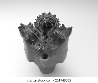Tricone Oil Drill Bits isolated on a White Background